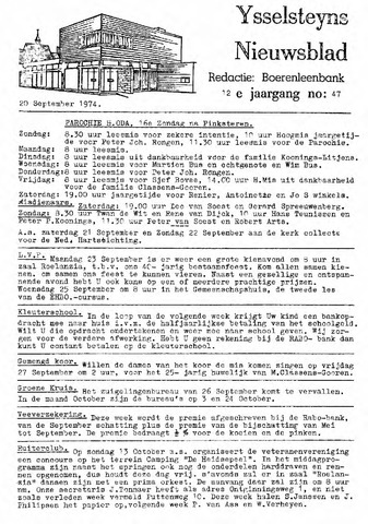 Ysselsteyns Nieuwsblad 1974-09-20