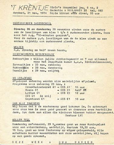 Oirlo's dorpsblad 't Krèntje 1974-11-21