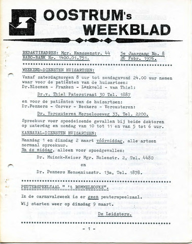 Oostrum's Weekblad 1976-02-26