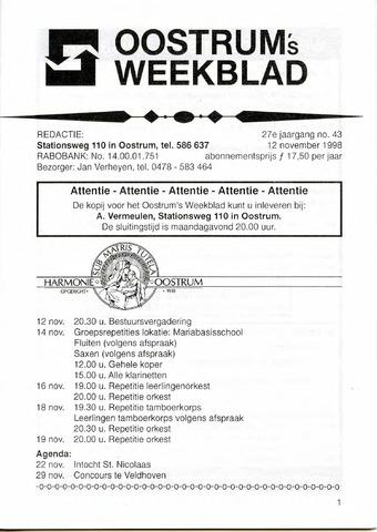 Oostrum's Weekblad 1998-11-12