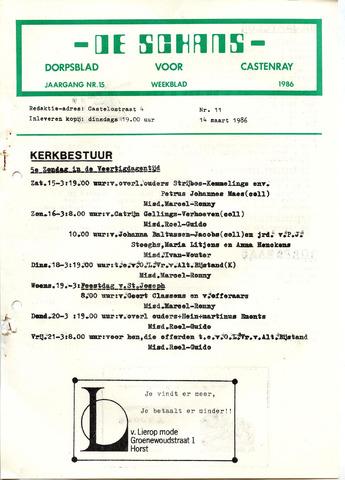 Castenrays dorpsblad De Schans 1986-03-14