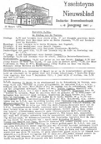 Ysselsteyns Nieuwsblad 1974-03-22