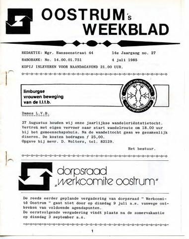 Oostrum's Weekblad 1985-07-04