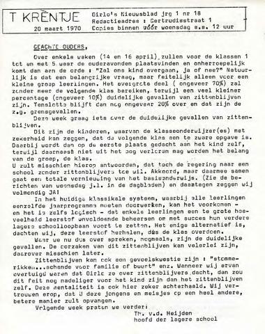 Oirlo's dorpsblad 't Krèntje 1970-03-20