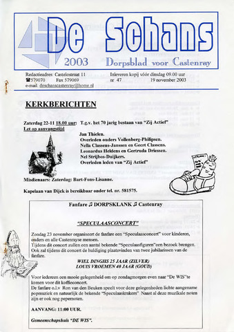 Castenrays dorpsblad De Schans 2003-11-19
