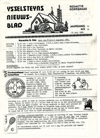 Ysselsteyns Nieuwsblad 1984-07-27