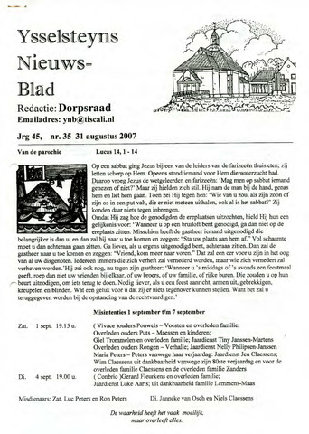 Ysselsteyns Nieuwsblad 2007-08-31