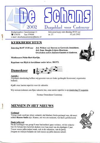 Castenrays dorpsblad De Schans 2002-07-03