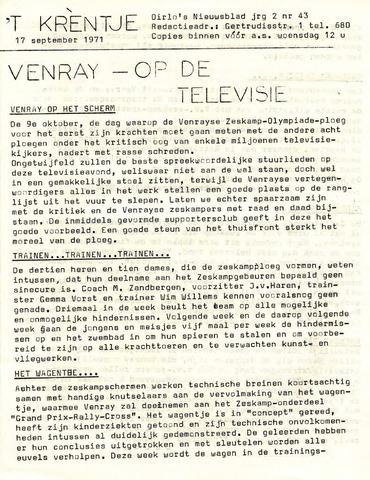 Oirlo's dorpsblad 't Krèntje 1971-09-17