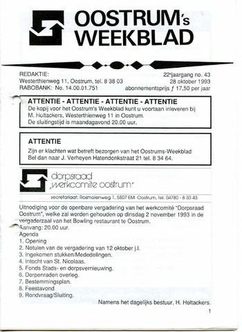 Oostrum's Weekblad 1993-10-28