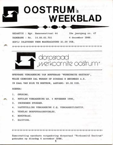 Oostrum's Weekblad 1986-12-04