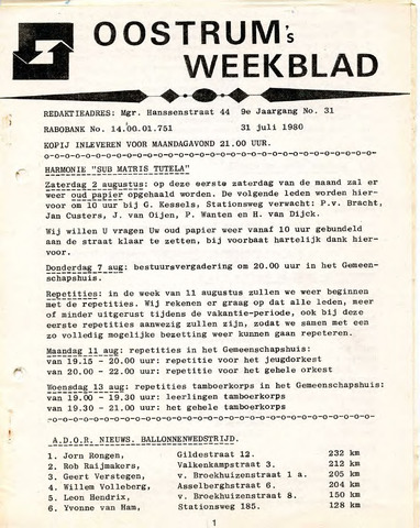 Oostrum's Weekblad 1980-07-31