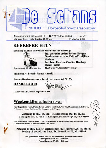 Castenrays dorpsblad De Schans 2000-10-19
