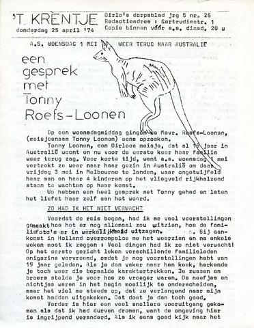 Oirlo's dorpsblad 't Krèntje 1974-04-25