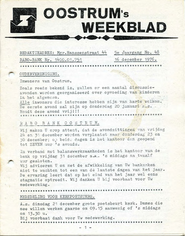 Oostrum's Weekblad 1976-12-16
