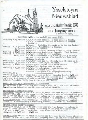 Ysselsteyns Nieuwsblad 1981-11-06