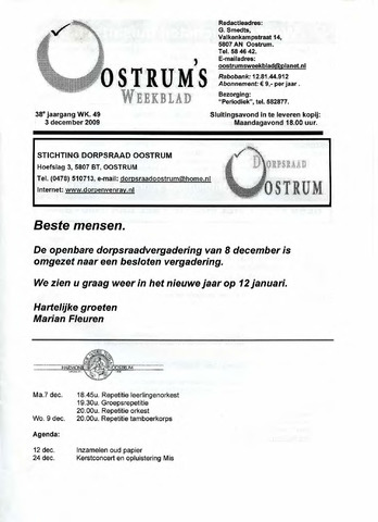 Oostrum's Weekblad 2009-12-03