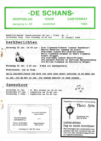 Castenrays dorpsblad De Schans 1994-01-21