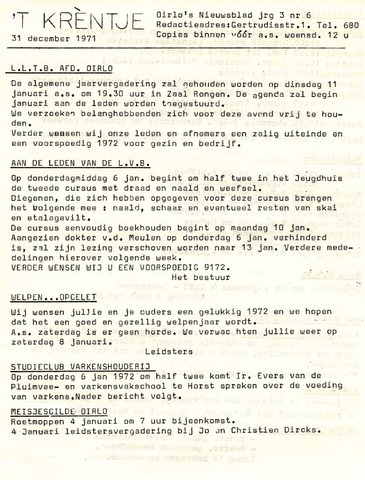 Oirlo's dorpsblad 't Krèntje 1971-12-31