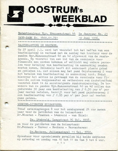 Oostrum's Weekblad 1976-06-10
