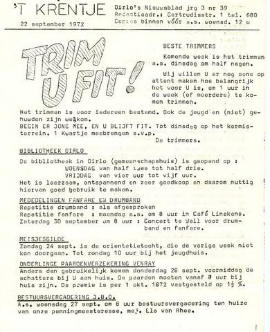 Oirlo's dorpsblad 't Krèntje 1972-09-22
