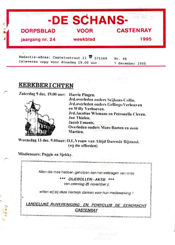Castenrays dorpsblad De Schans 1995-12-07