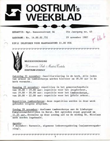 Oostrum's Weekblad 1987-11-19
