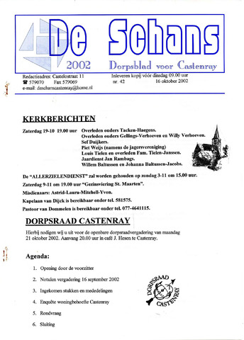Castenrays dorpsblad De Schans 2002-10-16