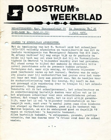 Oostrum's Weekblad 1976-07-01