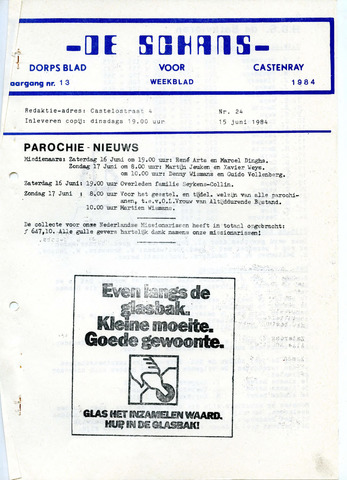 Castenrays dorpsblad De Schans 1984-06-15