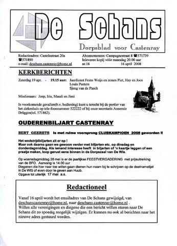 Castenrays dorpsblad De Schans 2008-04-16