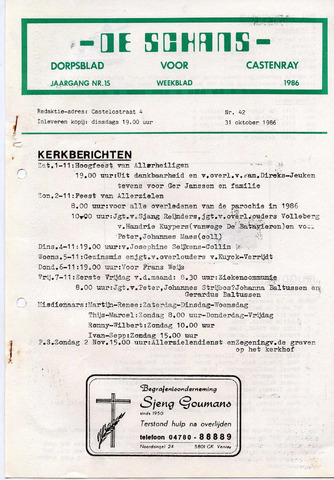 Castenrays dorpsblad De Schans 1986-10-31