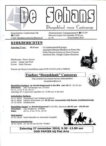 Castenrays dorpsblad De Schans 2010-11-24