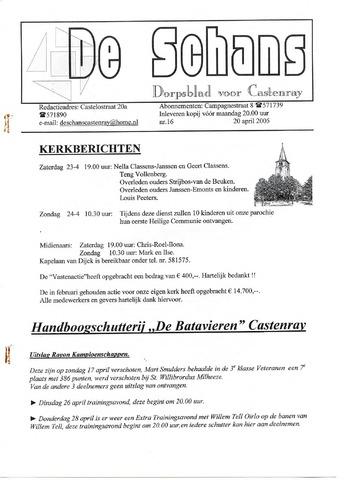 Castenrays dorpsblad De Schans 2005-04-20
