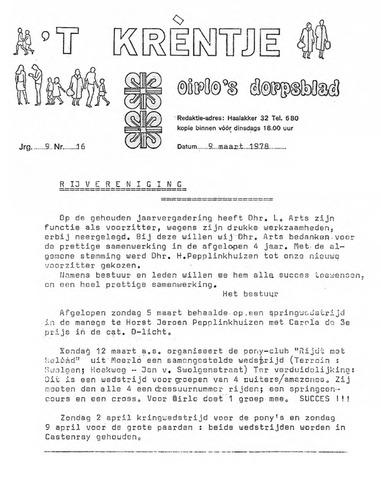 Oirlo's dorpsblad 't Krèntje 1978-03-09