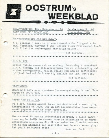 Oostrum's Weekblad 1976-11-04