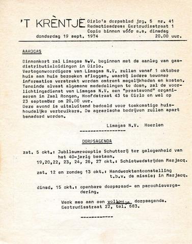 Oirlo's dorpsblad 't Krèntje 1974-09-19