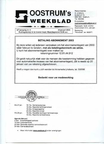 Oostrum's Weekblad 2003-01-23