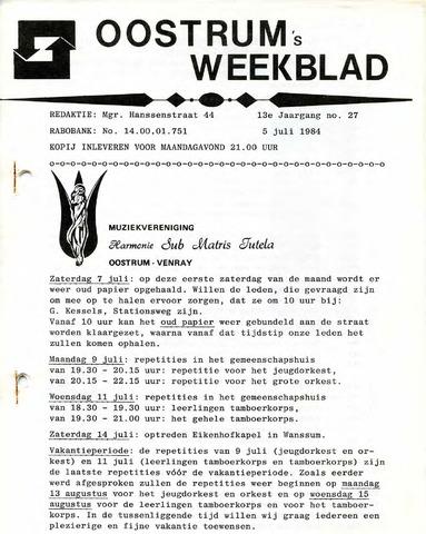 Oostrum's Weekblad 1984-07-05