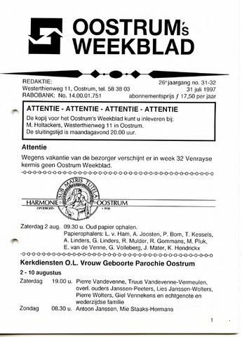 Oostrum's Weekblad 1997-07-31