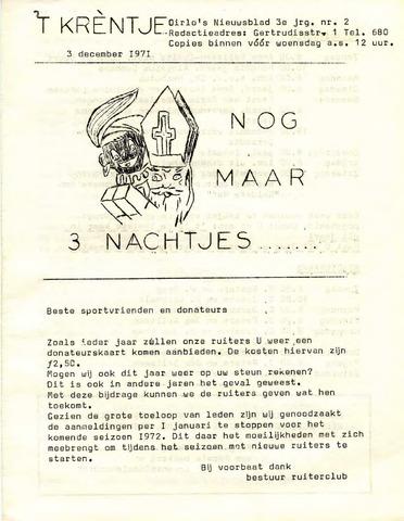 Oirlo's dorpsblad 't Krèntje 1971-12-03