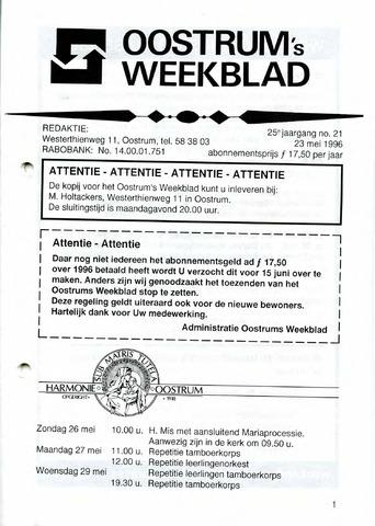 Oostrum's Weekblad 1996-05-23