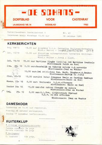 Castenrays dorpsblad De Schans 1985-10-18