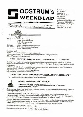 Oostrum's Weekblad 2003-03-27