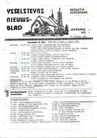 Ysselsteyns Nieuwsblad 1985-02-22