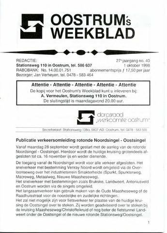 Oostrum's Weekblad 1998-10-01