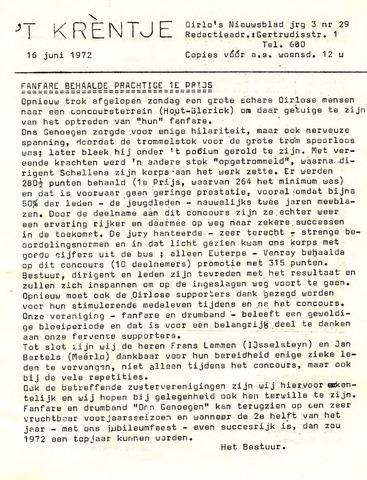 Oirlo's dorpsblad 't Krèntje 1972-06-16