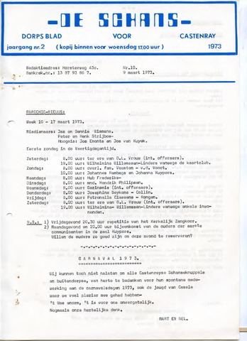 Castenrays dorpsblad De Schans 1973-03-09
