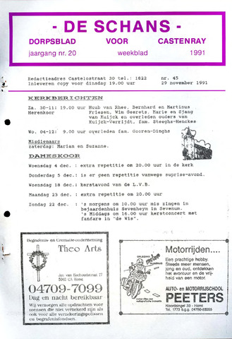 Castenrays dorpsblad De Schans 1991-11-29