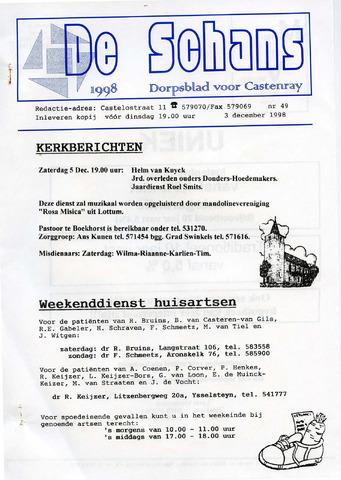Castenrays dorpsblad De Schans 1998-12-03